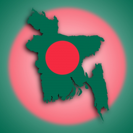 bangladesh: Map of Bangladesh Faso filled with the national flag