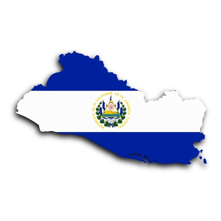 Map of El Salvador filled with the national flag photo