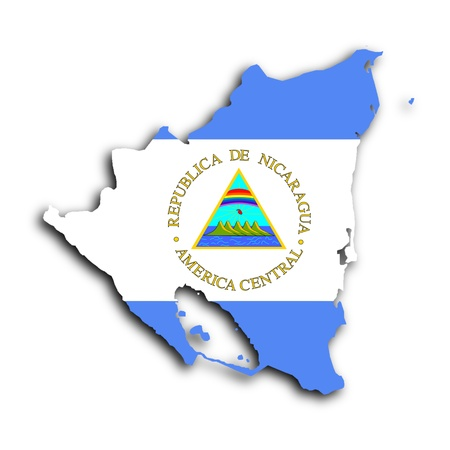 Map of Nicaragua filled with the national flag photo