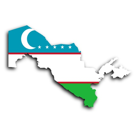 uzbekistan: Map of Uzbekistan filled with the national flag Stock Photo