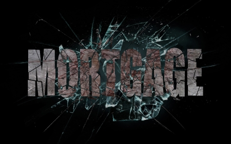 fixed rate: Concept of violence or crash, broken glass with the word mortgage