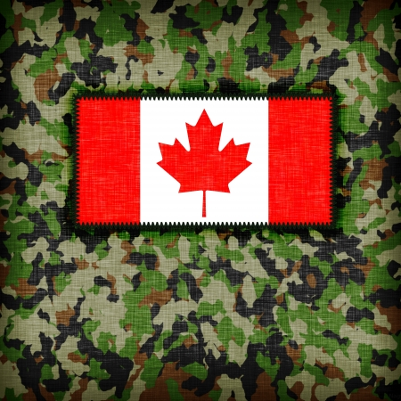 Amy camouflage uniform with flag on it, Canada Stock Photo