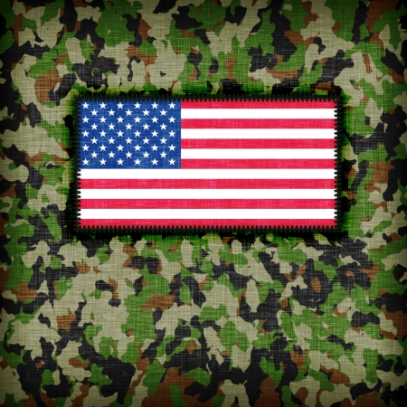 Amy camouflage uniform with flag on it, USA photo
