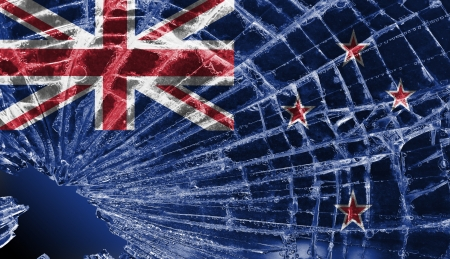 flag of new zealand: Isolated broken glass or ice with a flag, New Zealand