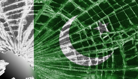 flag of pakistan: Isolated broken glass or ice with a flag, Pakistan