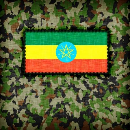 ethiopia abstract: Amy camouflage uniform with flag on it, Ethiopia