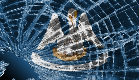 differential focus: Isolated broken glass or ice with a flag, Louisiana