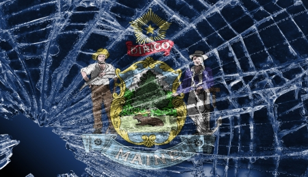 differential: Isolated broken glass or ice with a flag, Maine