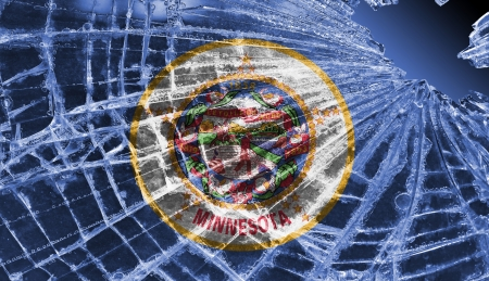 differential focus: Isolated broken glass or ice with a flag, Minnesota Stock Photo