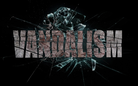 vandalize: Concept of violence or crash, broken glass with the word vandalism Stock Photo