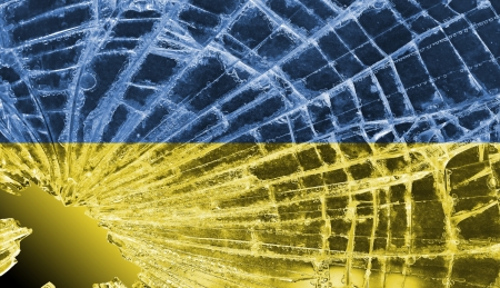 differential focus: Isolated broken glass or ice with a flag, Ukraine