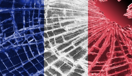 differential focus: Isolated broken glass or ice with a flag, France