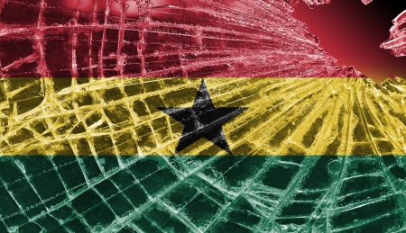 Isolated broken glass or ice with a flag, Ghana Stock Photo