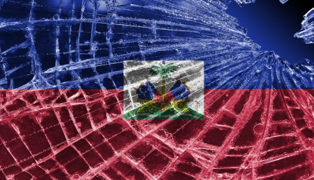 differential: Isolated broken glass or ice with a flag, Haiti