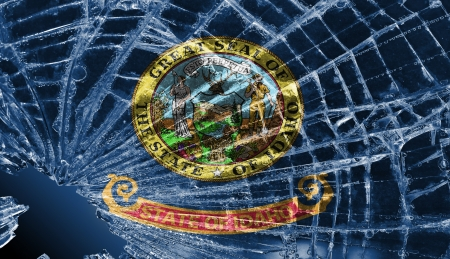 differential: Isolated broken glass or ice with a flag, Idaho Stock Photo