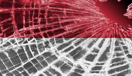 differential: Isolated broken glass or ice with a flag, Indonesia Stock Photo