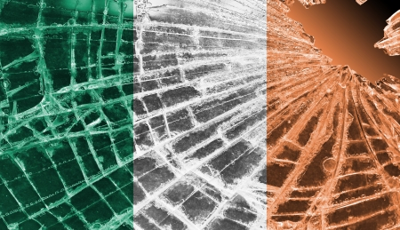 differential focus: Isolated broken glass or ice with a flag, Ireland
