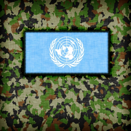 Amy camouflage uniform with flag on it, UN