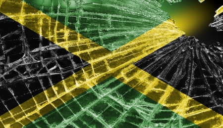 Broken ice or glass with a flag pattern, isolated, Jamaica Stock Photo - 18459929