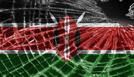Broken ice or glass with a flag pattern, isolated, Kenya photo