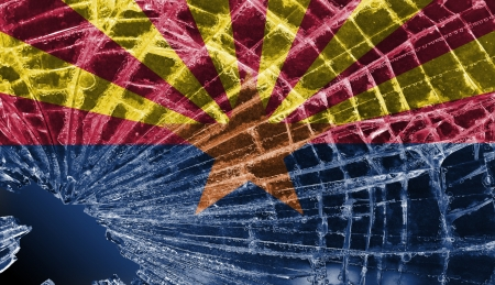 differential focus: Isolated broken glass or ice with a flag, Arizona
