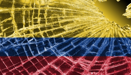 differential focus: Isolated broken glass or ice with a flag, Colombia