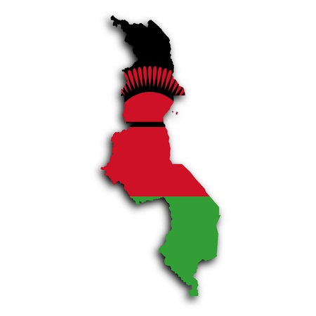 malawi flag: Map of Malawi filled with the national flag
