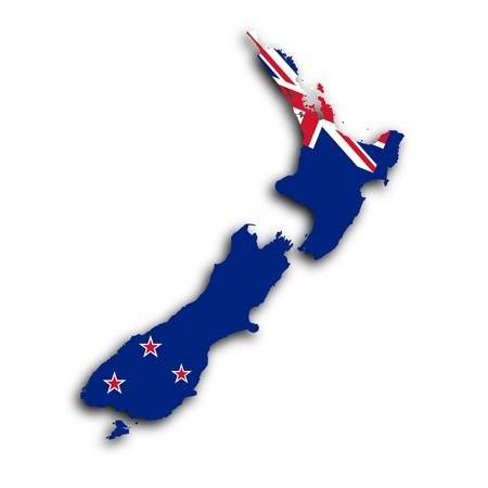 Map of New Zealand filled with the national flag