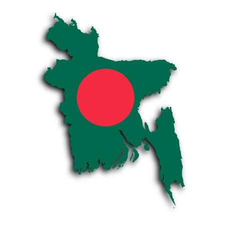 bangladesh 3d: Map of Bangladesh Faso filled with the national flag