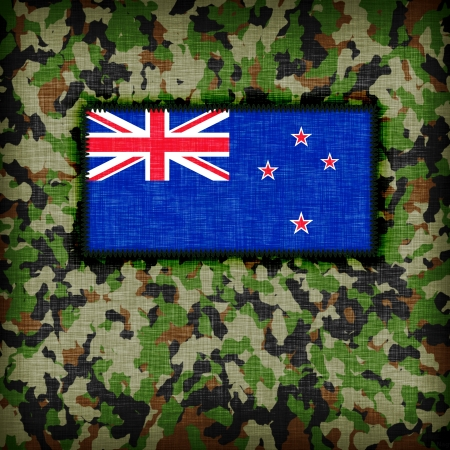Amy camouflage uniform with flag on it, New Zealand photo