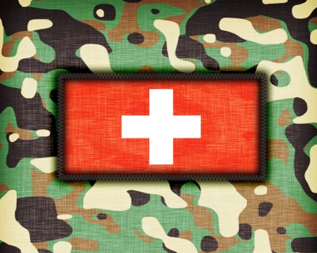 cross armed: Amy camouflage uniform with flag on it, Switzerland