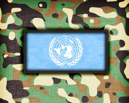 un: Amy camouflage uniform with flag on it, UN Editorial