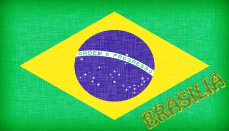 Flag of Brazil with letters stiched on it photo