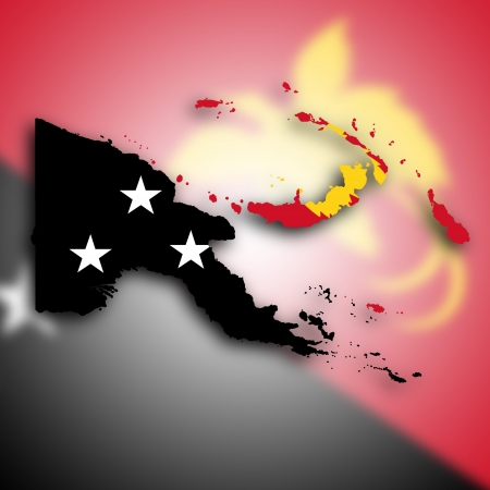 papua: Map of Papua New Guinea filled with the national flag