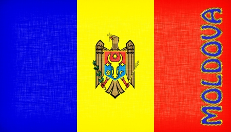stitched letters flag of moldova stitched with letters isolated stock photo