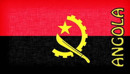 angola: Flag of Angola stitched with letters, isolated