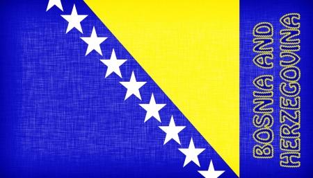 herzegovina: Flag of Bosnia and Herzegovina stitched with letters, isolated