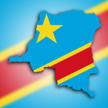 Map of Congo, filled with the national flag photo
