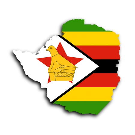 Map of Zimbabwe filled with the national flag photo