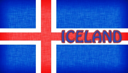 stitched letters flag of iceland stitched with letters isolated stock photo