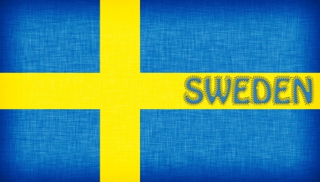 Flag of Sweden stitched with letters, isolated Stock Photo - 18616651