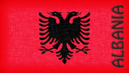 double headed: Flag of Albania stitched with letters, isolated