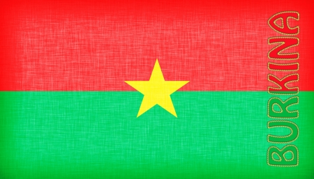 burkina faso: Flag of Burkina Faso stitched with letters, isolated