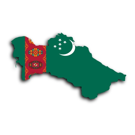 turkmenistan: Map of Turkmenistan, filled with the national flag Stock Photo