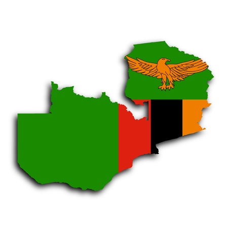 zambia: Map of Zambia, filled with the national flag