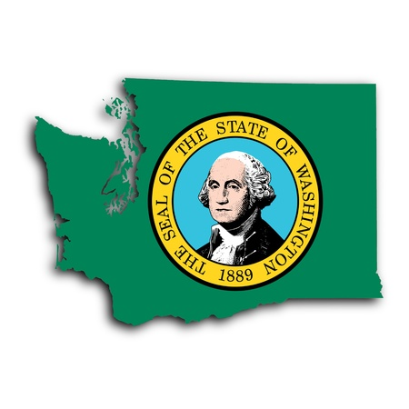 Map of Washington, filled with the state flag photo