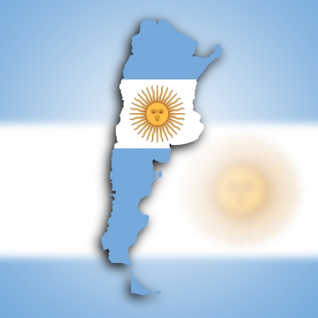 Map of Argentina filled with the national flag photo