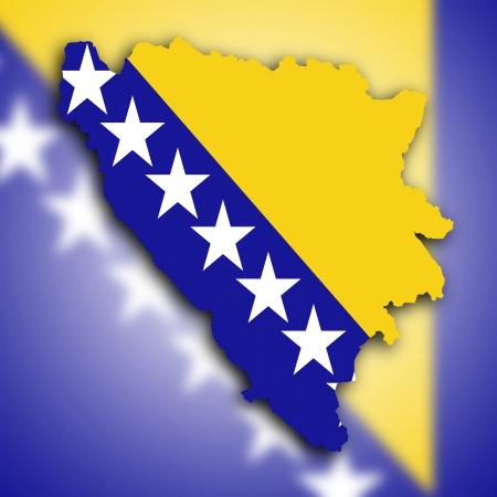herzegovina: Map of Bosnia and Herzegovina filled with the national flag
