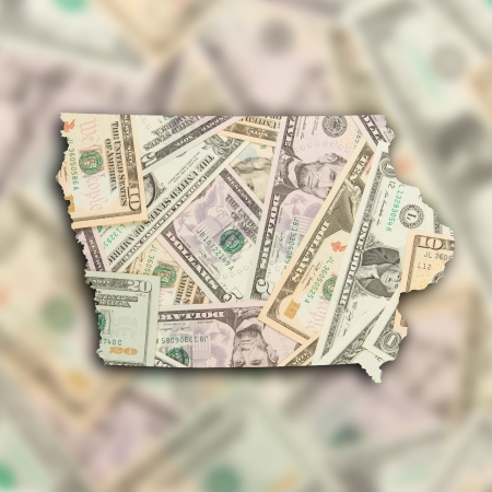 Map of Iowa, filled with many dollars photo