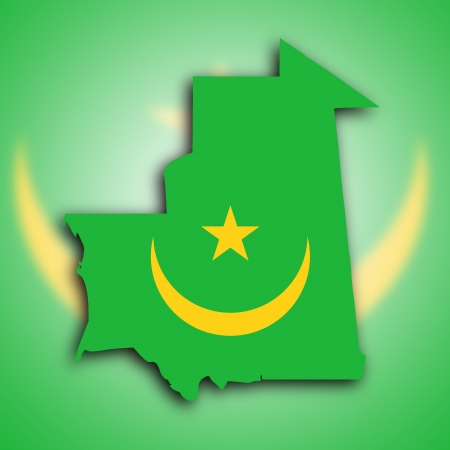 Map of Mauritania filled with the national flag photo